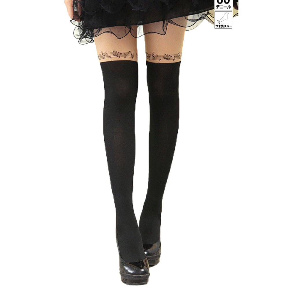 Musical Notes Fake Thigh High Garter Sheer Tights for Women | DOTOLY