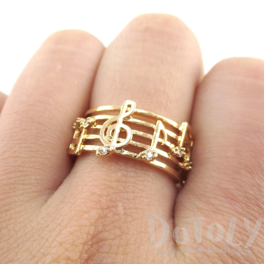 Musical Notes on Score Shaped Music Themed Ring in Gold