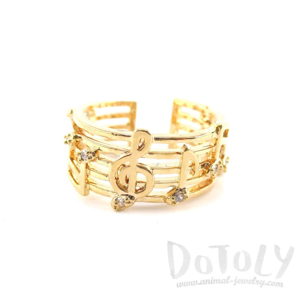 Musical Notes on Score Shaped Music Themed Ring in Gold | DOTOLY | DOTOLY