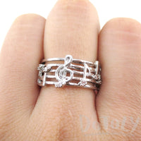 Musical Notes Score Shaped Music Themed Ring in Silver