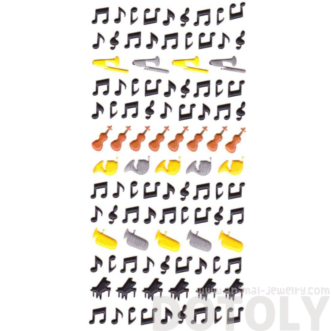 Musical Notes Piano Trumpet Horn Shaped Puffy Stickers