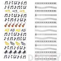 Musical Scores Notes and Instruments Music Themed Stickers | 2 Sheets