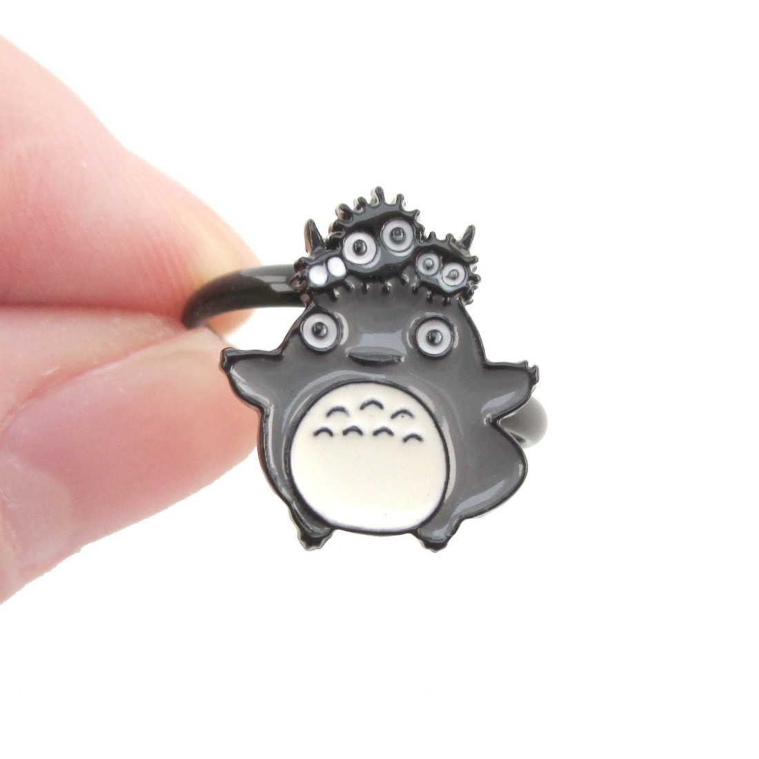 My Neighbor Totoro and Dustbunnies Shaped Adjustable Ring | DOTOLY