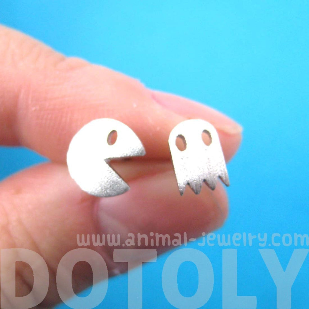 Namco Pac-Man and Ghost Arcade Themed Stud Earrings in Silver | DOTOLY