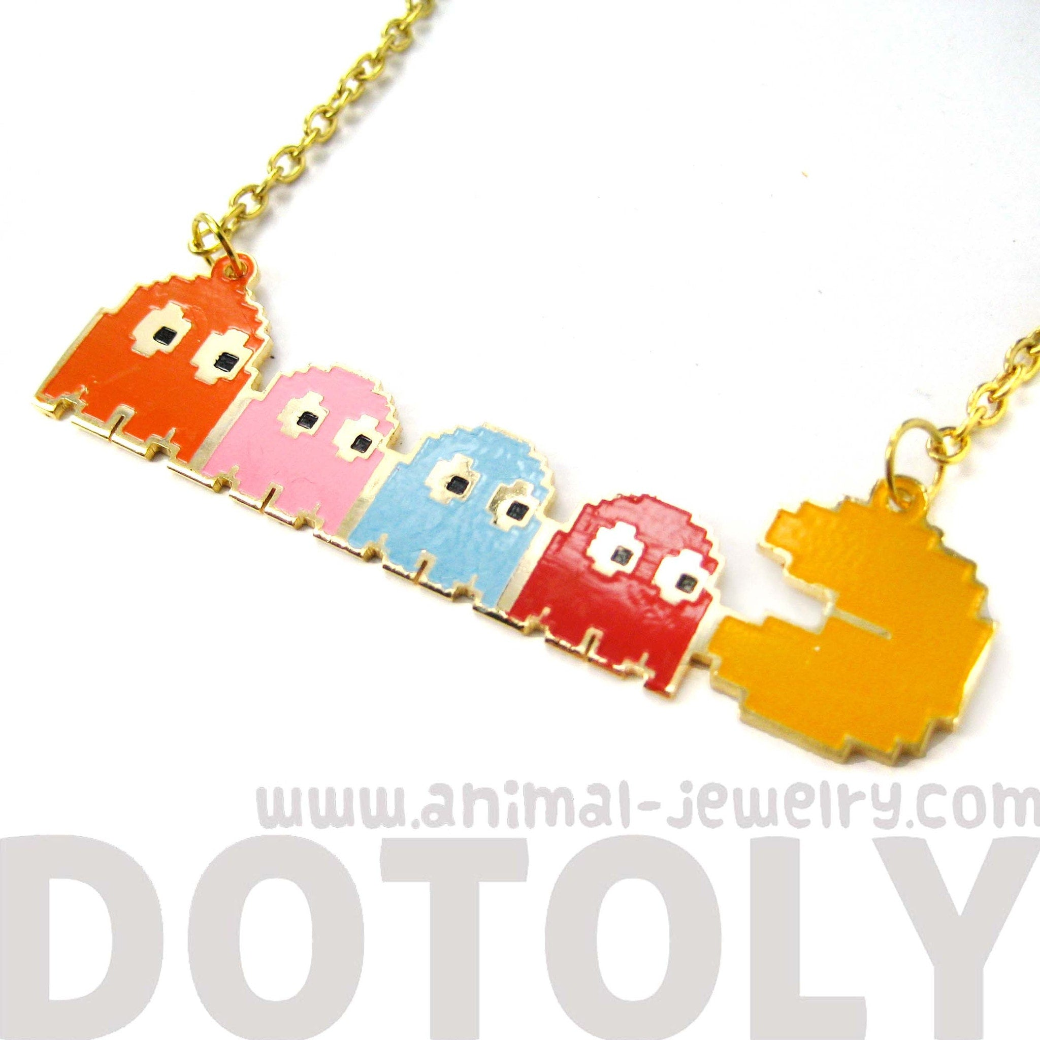 namco-pac-man-and-ghost-themed-pixel-pendant-necklace-limited-edition