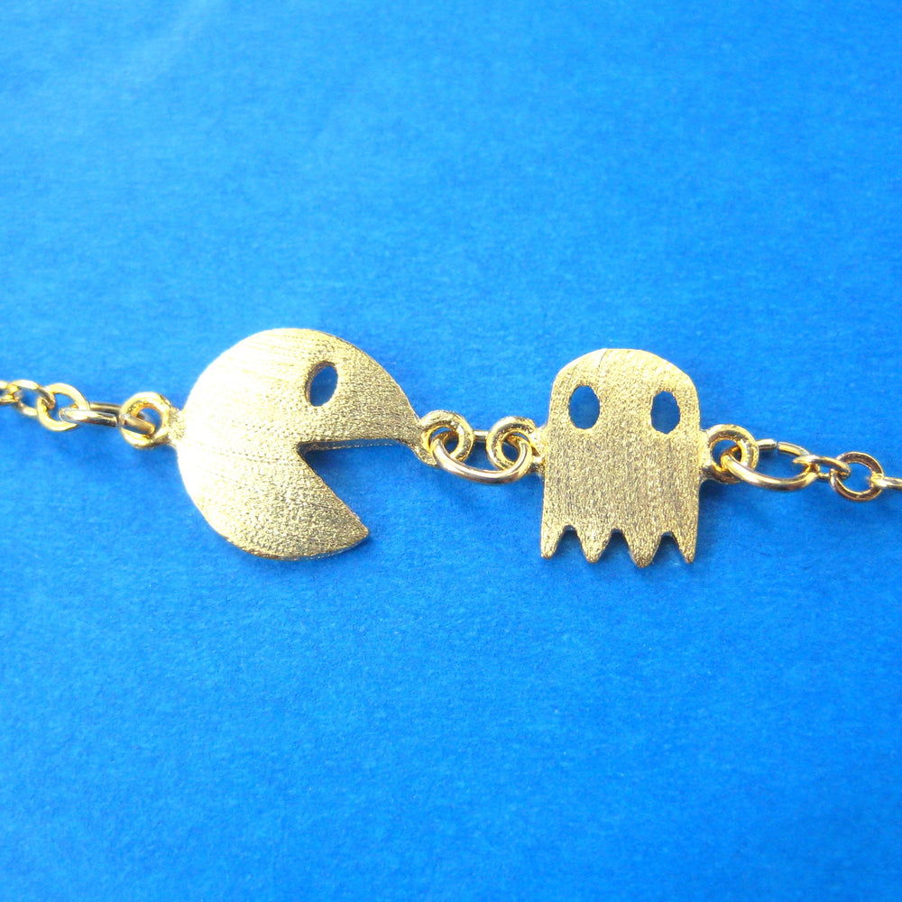 Namco Pac-Man & Ghost Arcade Game Themed Charm Bracelet in Gold