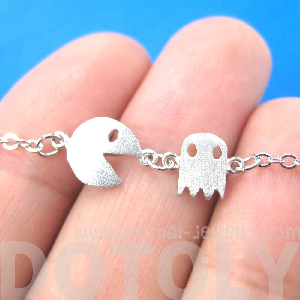 Namco PacMan & Ghost Arcade Game Themed Charm Bracelet in Silver