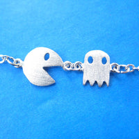 Namco PacMan & Ghost Arcade Game Themed Charm Bracelet in Silver | DOTOLY | DOTOLY