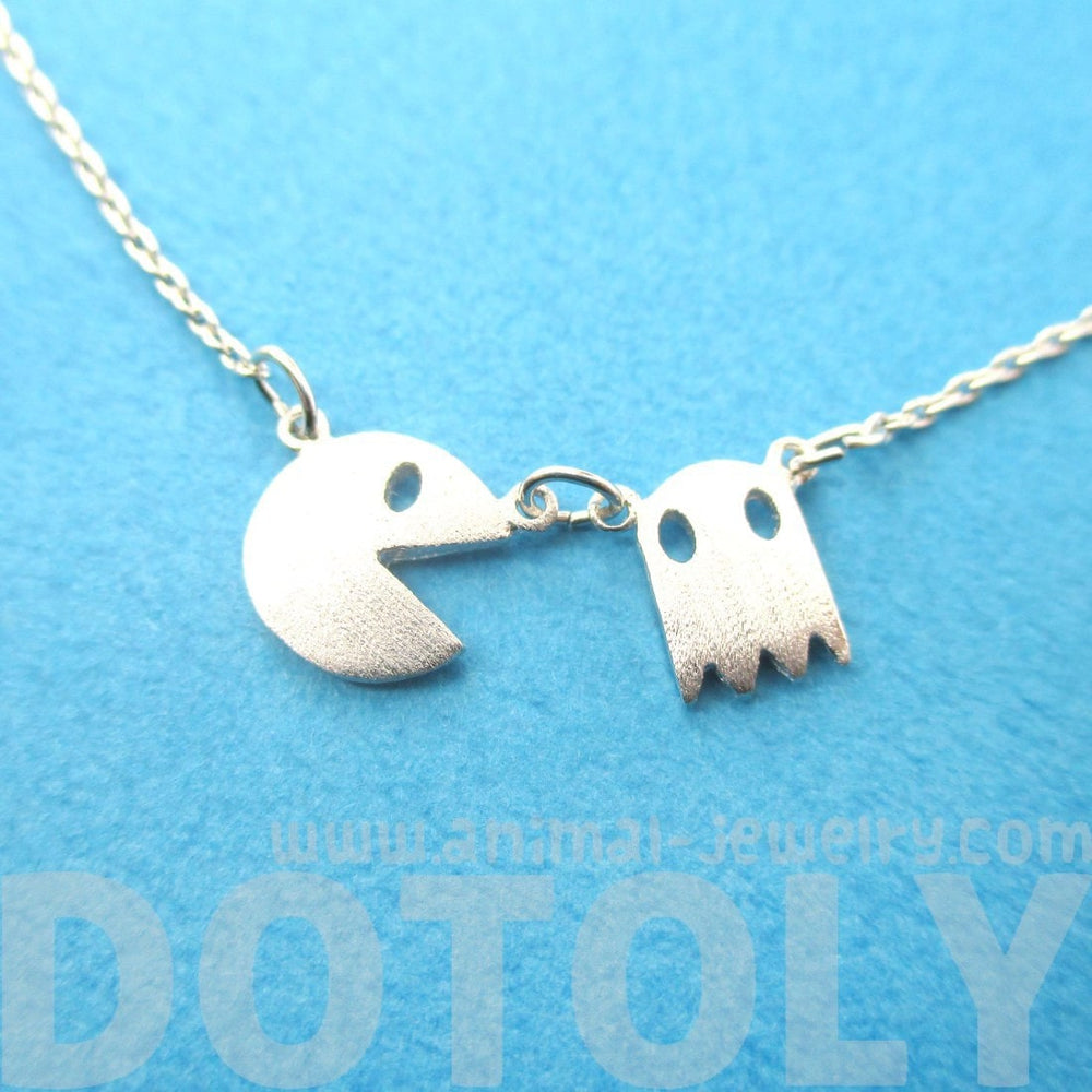 Namco PacMan & Ghost Arcade Game Themed Charm Necklace in Silver