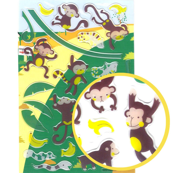 Naughty Monkeys Cartoon Illustrated Animal Jelly Puffy Stickers for Scrapbooking | DOTOLY