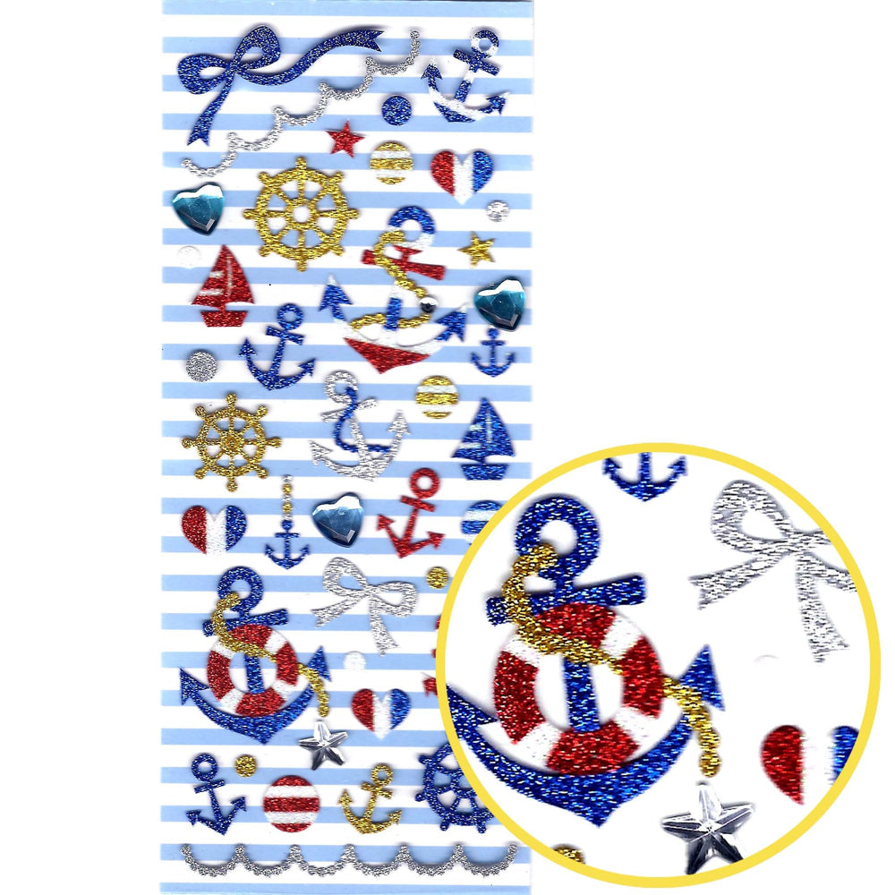 Nautical Themed Anchor Helm Navy Glittery Decorative Stickers