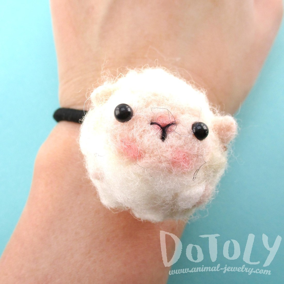 Needle Felted Wool Baby Lamb Sheep Hair Tie | DOTOLY