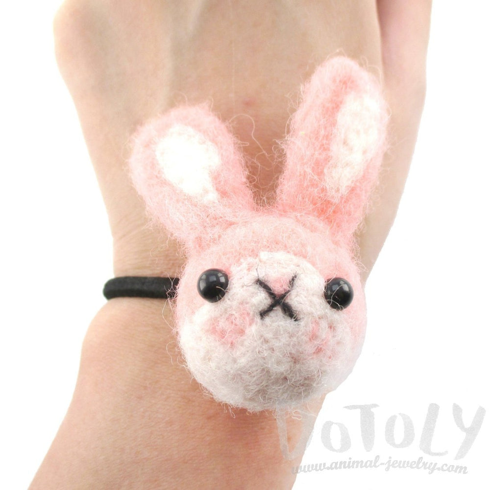 Needle Felted Wool Bunny Rabbit Hair Tie in Pink | DOTOLY | DOTOLY