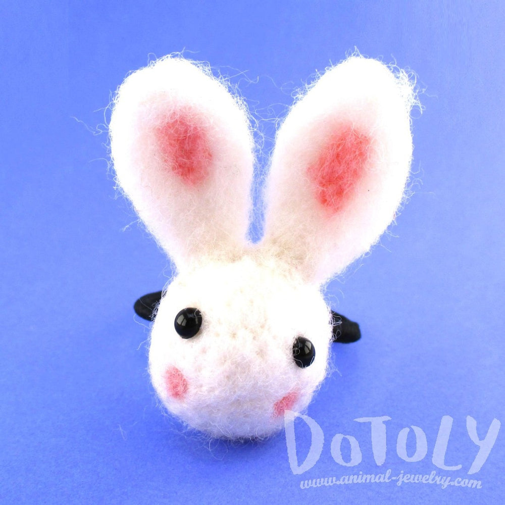 Needle Felted Wool Bunny Rabbit Hair Tie in White