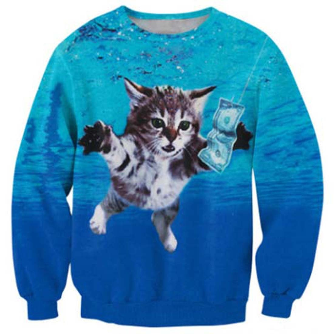 Nirvana Nevermind Album Kitty Cat Parody Print Sweater