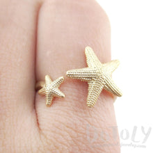 Ocean Theme Starfish Shaped Adjustable Ring in Gold