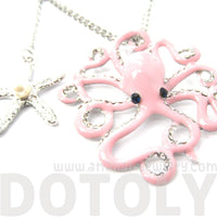 Octopus Shaped Animal Pendant Starfish Charm Necklace in Pink | DOTOLY