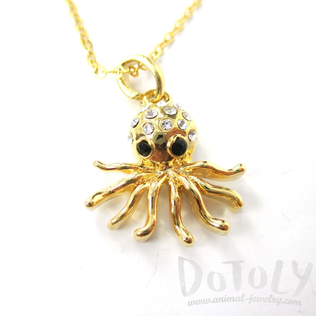 Octopus Shaped Rhinestone Pendant Necklace in Gold