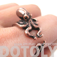 Octopus Squid Sea Animal Wrap Around Hug Ring in Copper | Size 4 - 9