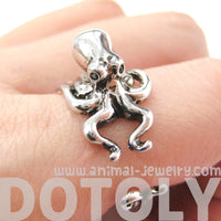 Octopus Squid Sea Animal Wrap Around Hug Ring in Shiny Silver
