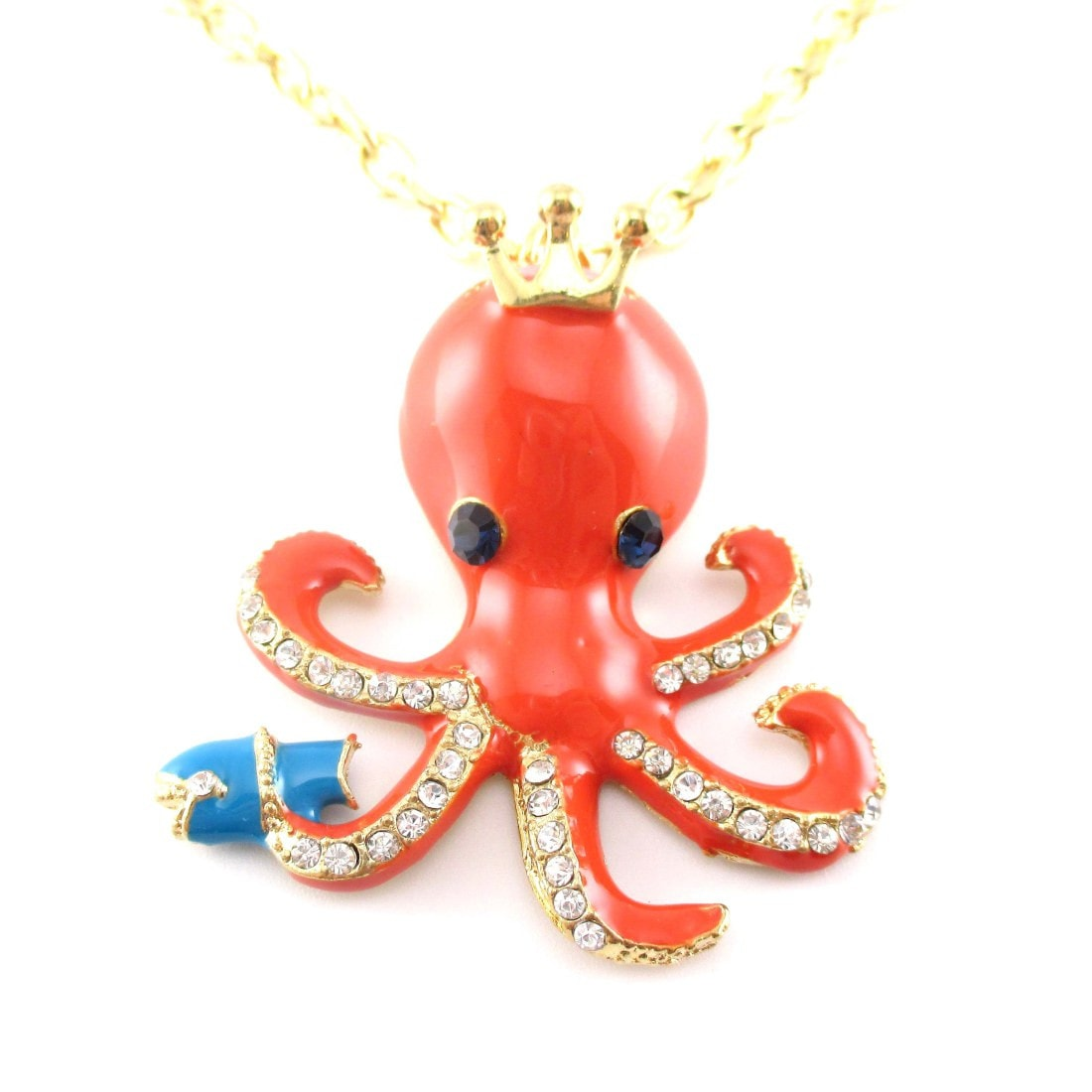 Octopus with Crown Shaped Pendant Necklace in Orange