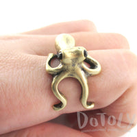Octopus Wrapped Around Your Finger Shaped Ring in Brass