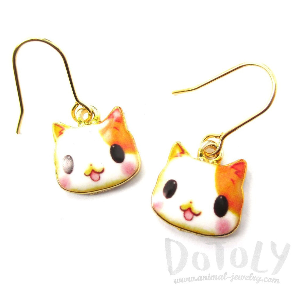 Orange and White Kitty Cartoon Cat Face Shaped Dangle Drop Earrings | DOTOLY | DOTOLY