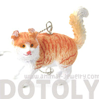 Orange and White Tabby Kitty Cat Animal Plastic Pendant Necklace | Animal Jewelry | DOTOLY