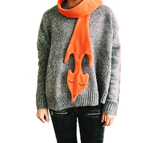 Orange Fox Shaped Wrap Around Fleece Scarf | DOTOLY