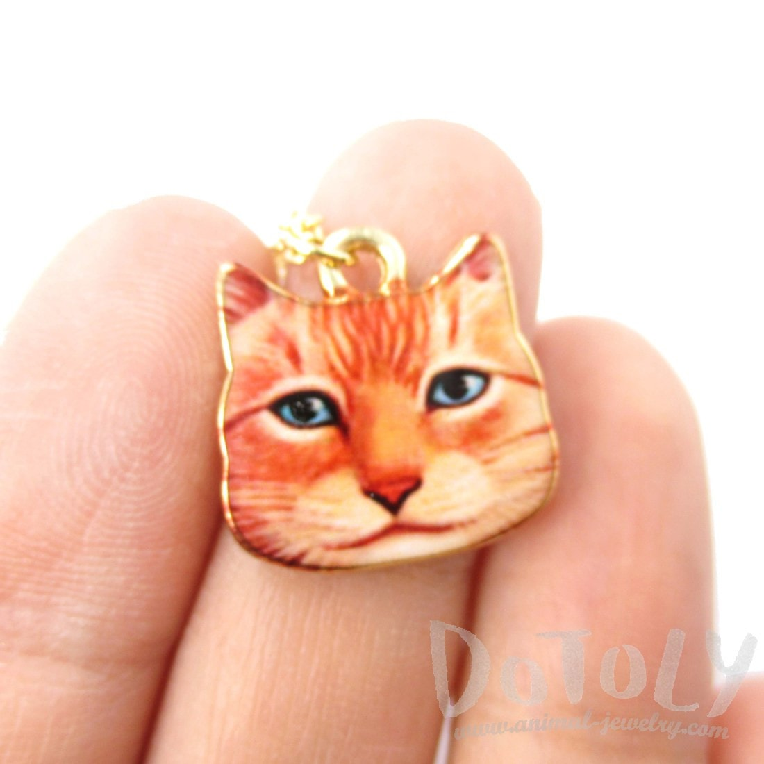 Orange Ginger Kitty Cat Face Shaped Charm Necklace