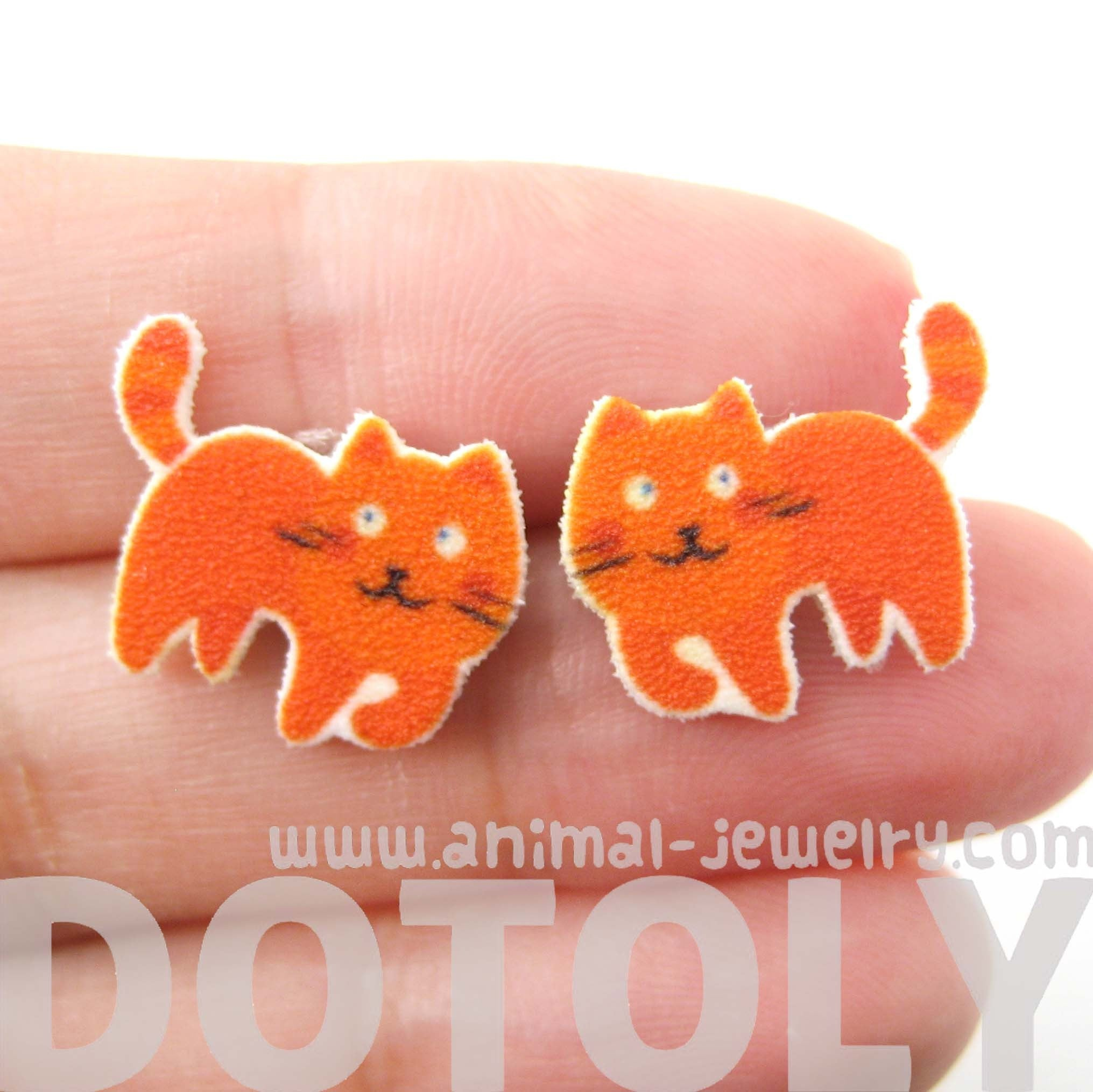 orange-kitty-cat-animal-stud-earrings-handmade-shrink-plastic