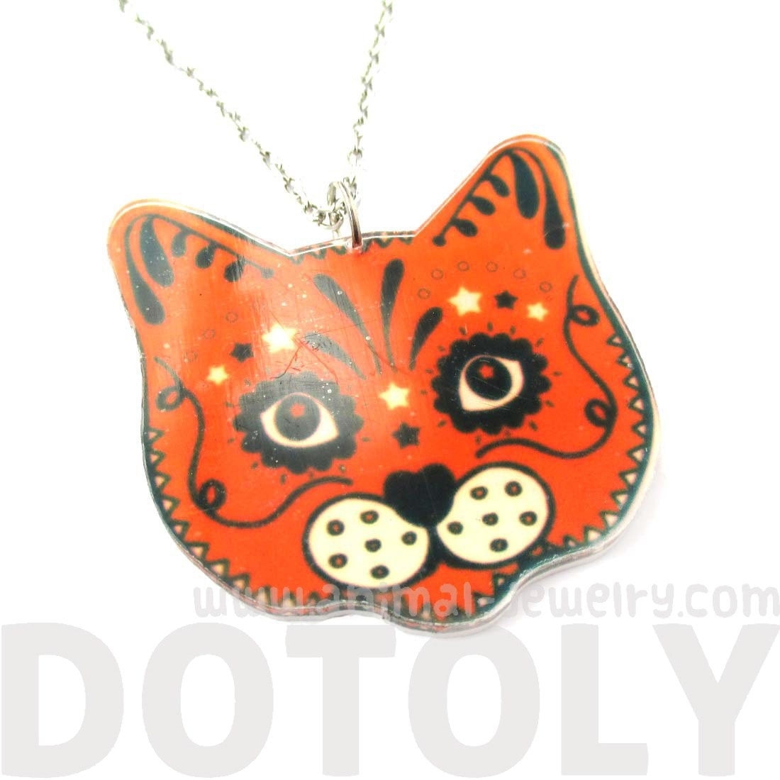 Orange Kitty Cat Face Shaped Decorative Acrylic Pendant Necklace