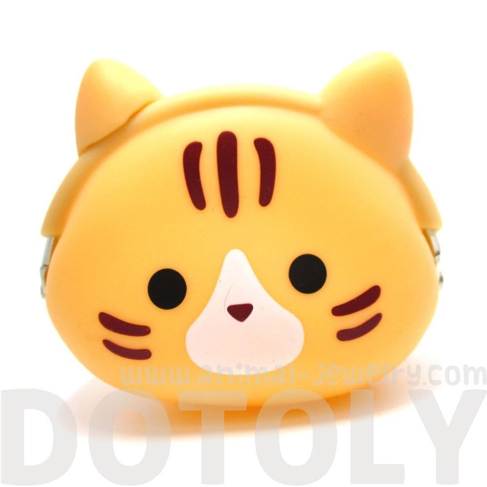 Orange Kitty Cat Face Shaped Silicone Clasp Coin Purse