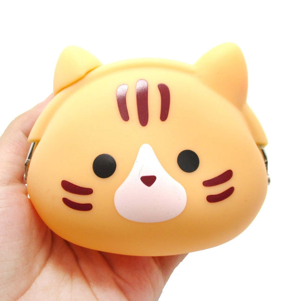 Orange Kitty Cat Face Shaped Mimi Pochi Animal Friends Silicone Clasp Coin Purse Pouch | DOTOLY