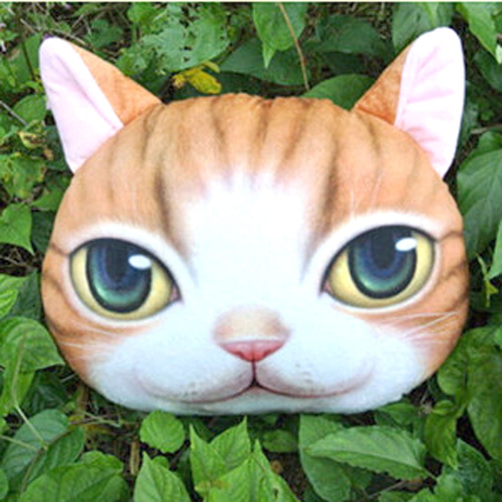 Orange Tabby Kitty Cat Face Shaped Soft Fabric Cushion