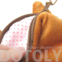 Orange Kitty Cat Face Shaped Soft Fabric Zipper Coin Purse Make Up Bag