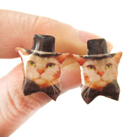 Orange Tabby Kitty Cat in Bow Tie and Top Hat Shaped Stud Earrings