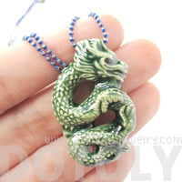 Handmade Dragon Shaped Porcelain Ceramic Pendant Necklace in Green