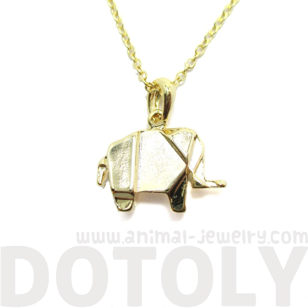 Origami Abstract Elephant Shaped Charm Necklace in Gold