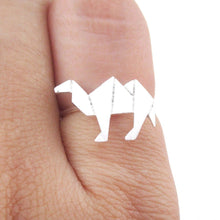 Origami Camel Silhouette Shaped Adjustable Ring in Silver | DOTOLY
