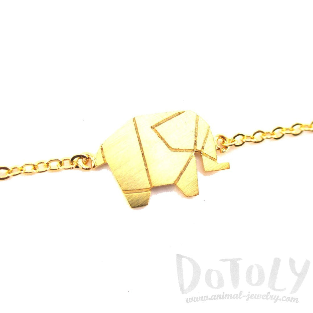 Origami Elephant Shaped Silhouette Charm Bracelet in Gold | DOTOLY