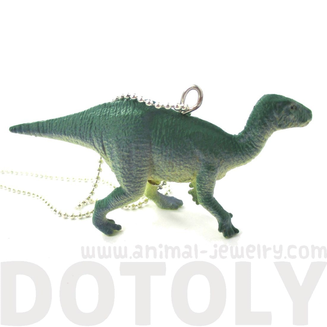 Ornithomimus Dinosaur Shaped Figurine Pendant Necklace in Green Blue