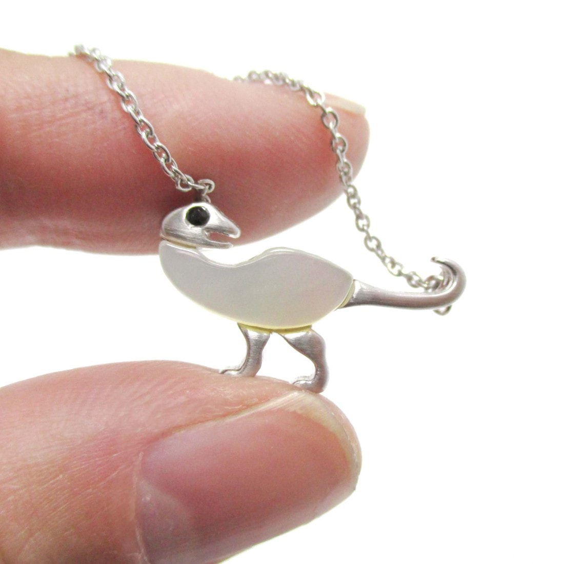 Ornithomimus Dinosaur Shaped Pendant Necklace in Silver