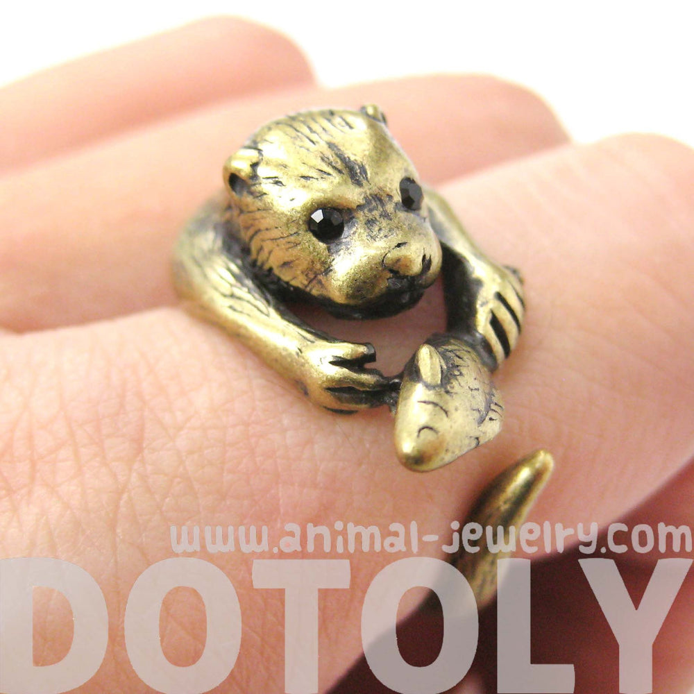 Otter Beaver Holding a Fish Shaped Animal Wrap Around Ring in Brass
