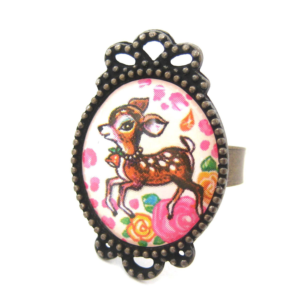 Bambi Deer Illustrated Resin Adjustable Ring with Floral Details
