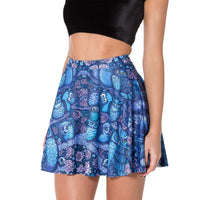 Owl and Flowers Print Circle Skirt with Elastic Waist in Blue | DOTOLY