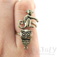 Owl and Monkey Wrap Around Adjustable Ring in Brass