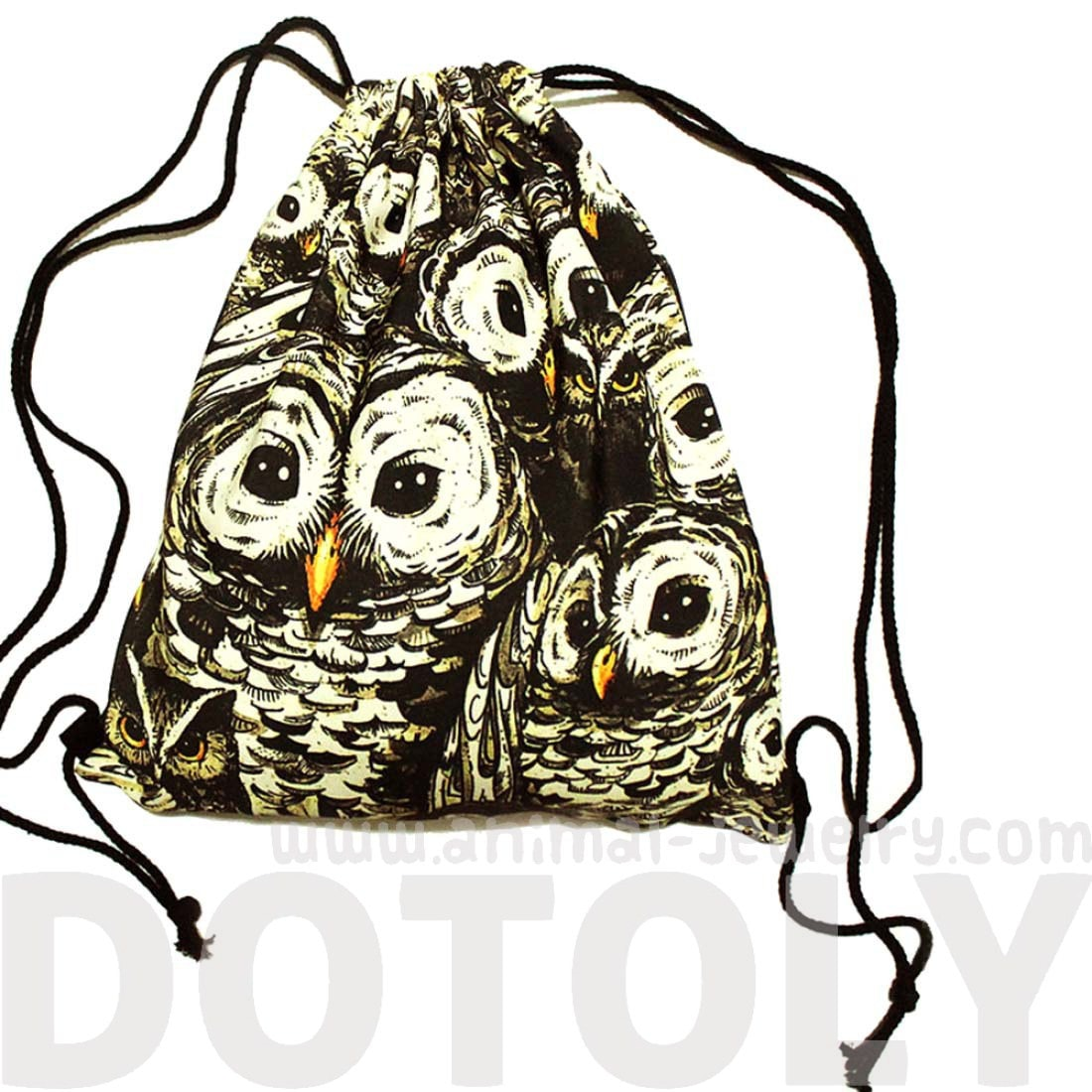 Owl Animal Bird Print Collage Drawstring Cinch Backpack Bag for Women