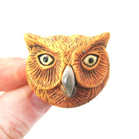 Owl Bird Head Shaped Porcelain Ceramic Adjustable Animal Ring | Handmade