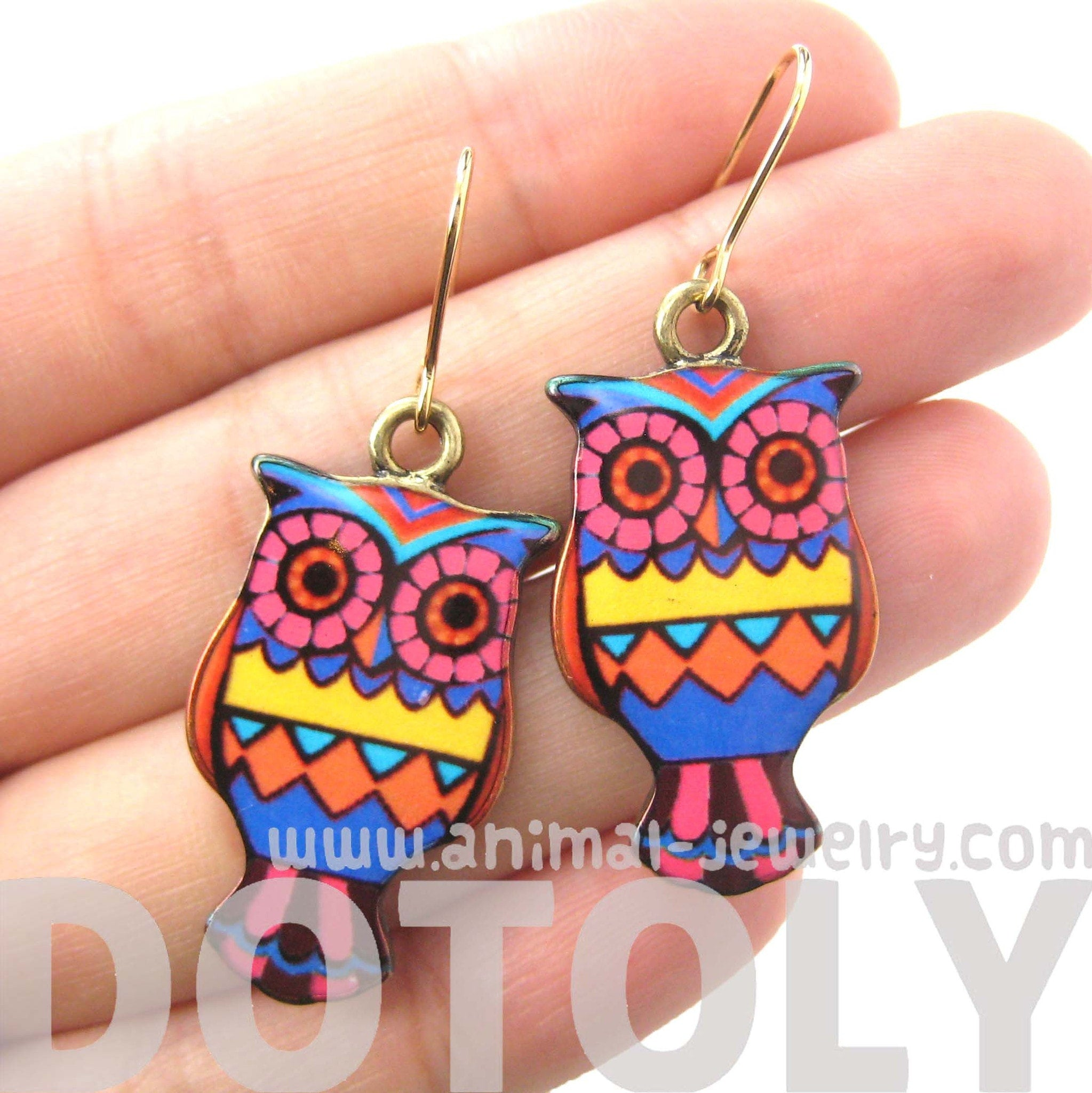 Owl Bird Shaped Aztec Print Illustrated Resin Dangle Earrings | DOTOLY